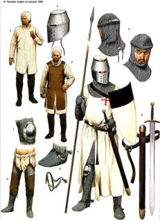 Оружие и снаряжение рыцаря-тамплиера около 1290 г.