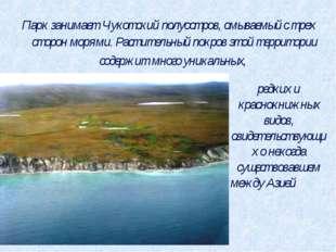 Парк занимает Чукотский полуостров, омываемый с трех сторон морями. Раститель
