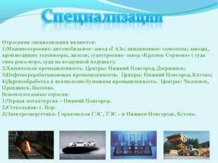 Отраслями специализации являются: Машиностроение: автомобильное- завод «ГАЗ»;