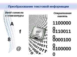 Ввод символа с клавиатуры Оперативная память А f 8 @ 11000000 01100110 000010