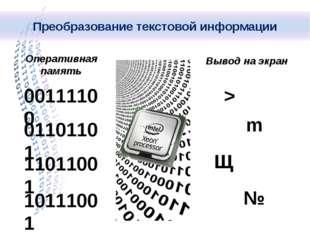 Вывод на экран 00111100 01101101 11011001 10111001 Оперативная память > m Щ №