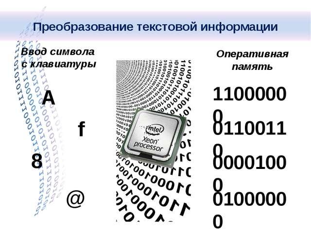 Ввод символа с клавиатуры Оперативная память А f 8 @ 11000000 01100110 000010...