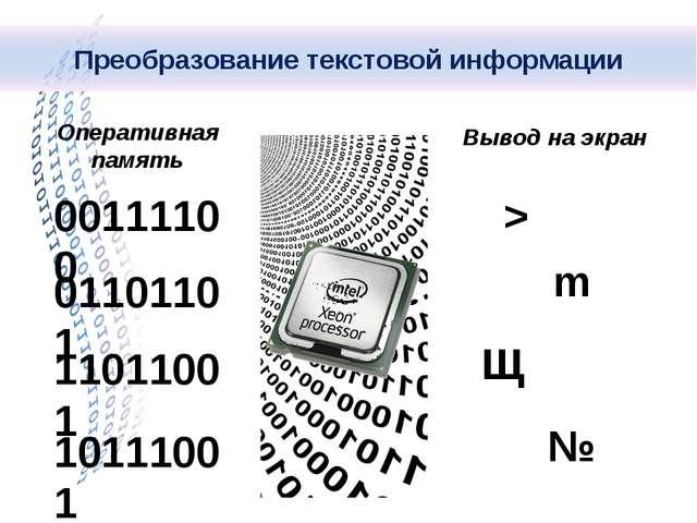 Вывод на экран 00111100 01101101 11011001 10111001 Оперативная память > m Щ №...