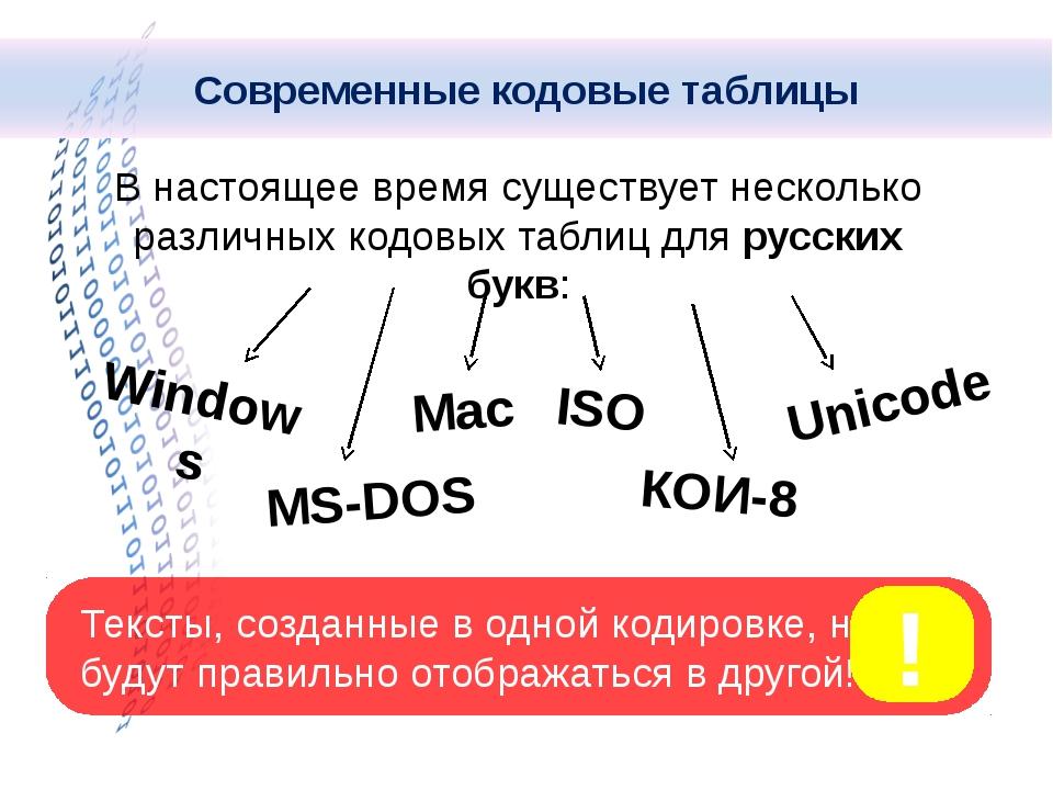 В настоящее время существует несколько различных кодовых таблиц для русских б...