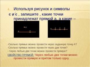 Используя рисунок и символы є и є , запишите , какие точки принадлежат прямой