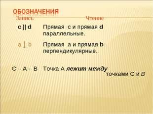 ЗаписьЧтение с || dПрямая с и прямая d параллельные. a │ b Прямая а и прям