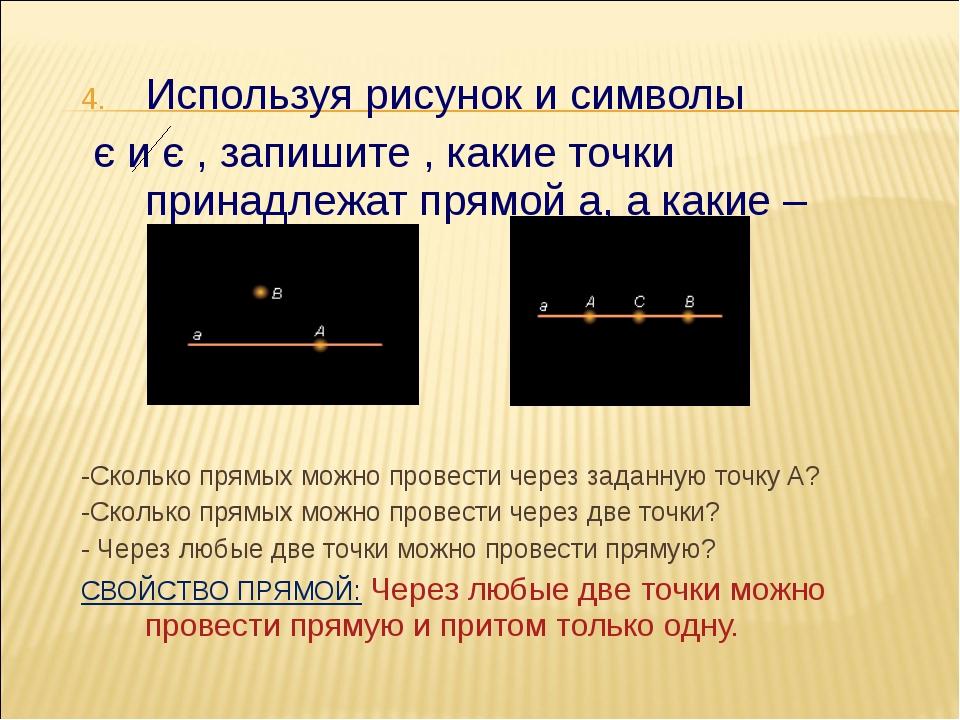 Используя рисунок и символы є и є , запишите , какие точки принадлежат прямой...