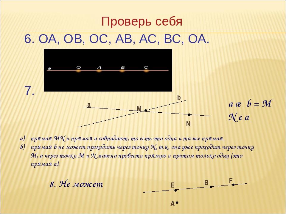 Проверь себя 6. ОА, ОВ, ОС, АВ, АС, ВС, ОА. 7. М a b •N • a ∩ b = М N є a пря...