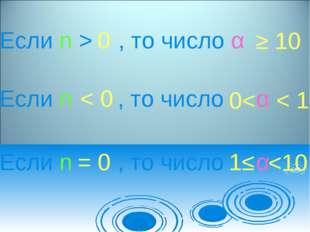 Если n > , то число α Если n , то число α Если n , то число α 0 < 0 = 0 ≥ 10