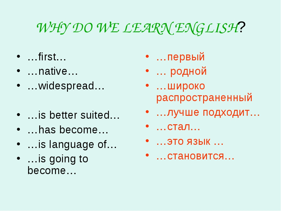 WHY DO WE LEARN ENGLISH? …first… …native… …widespread… …is better suited… …ha...