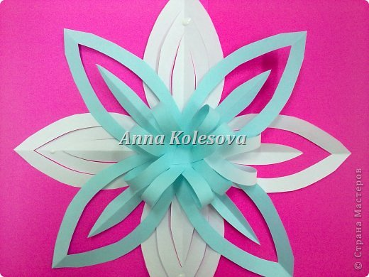 Мастер-класс 8 марта Новый год Оригами Объемные снежинки-цветок Бумага фото 17