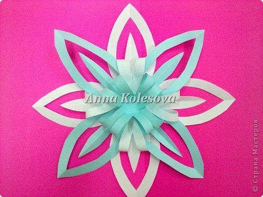 Мастер-класс 8 марта Новый год Оригами Объемные снежинки-цветок Бумага фото 18
