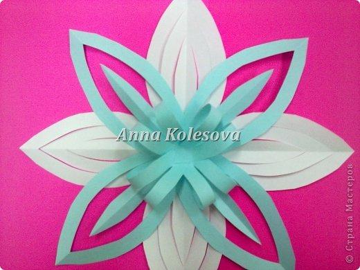 Мастер-класс 8 марта Новый год Оригами Объемные снежинки-цветок Бумага фото 15