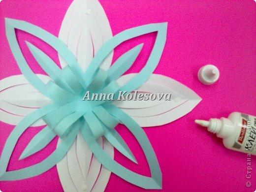 Мастер-класс 8 марта Новый год Оригами Объемные снежинки-цветок Бумага фото 16