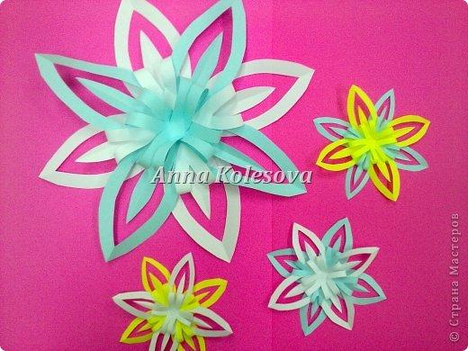 Мастер-класс 8 марта Новый год Оригами Объемные снежинки-цветок Бумага фото 19