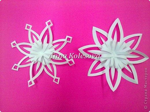 Мастер-класс 8 марта Новый год Оригами Объемные снежинки-цветок Бумага фото 1