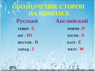 ОБОЗНАЧЕНИЕ СТОРОН НА КОМПАСЕ Русский Английский СЕВЕР – С NORTH –N ЮГ – Ю SO