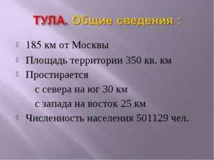 185 км от Москвы Площадь территории 350 кв. км Простирается с севера на юг 30