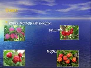 Ответ: костянковидные плоды. Слива вишня малина морошка.