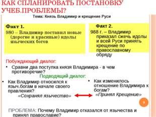 ПРИМЕР: КАК СПЛАНИРОВАТЬ ПОСТАНОВКУ УЧЕБ.ПРОБЛЕМЫ? Факт 1. 980 – Владимир пос