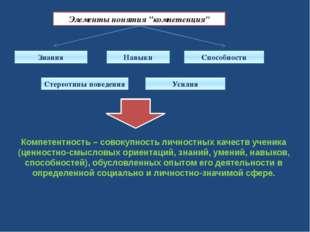 """Элементы понятия """"компетенция"""" Знания Навыки Способности Стереотипы поведения"""
