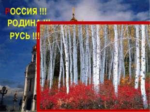 РОДИНА !!! РУСЬ !!! РОССИЯ !!!