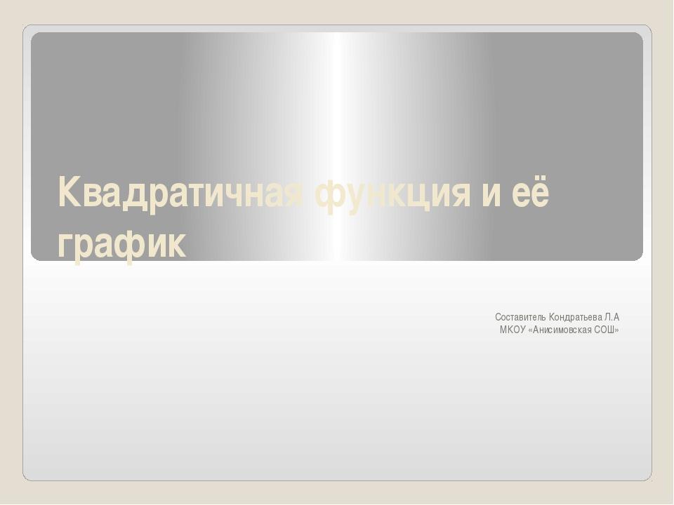 Квадратичная функция и её график Составитель Кондратьева Л.А МКОУ «Анисимовск...