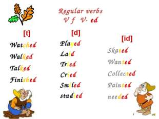 Regular verbs V → V- ed [t] Watched Walked Talked Finished Liked [id] Skated