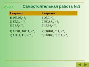 Самостоятельная работа №3 Урок 5 1 вариант2 вариант 163,028=?2 E5,716 = ?2 5