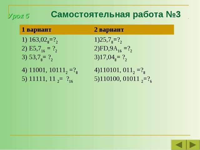 Самостоятельная работа №3 Урок 5 1 вариант2 вариант 163,028=?2 E5,716 = ?2 5...