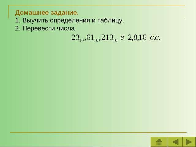 Домашнее задание. 1. Выучить определения и таблицу. 2. Перевести числа