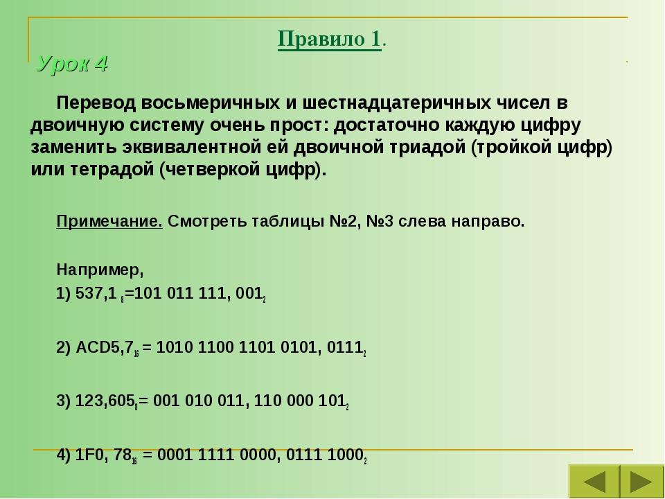 Правило 1. Перевод восьмеричных и шестнадцатеричных чисел в двоичную систему...