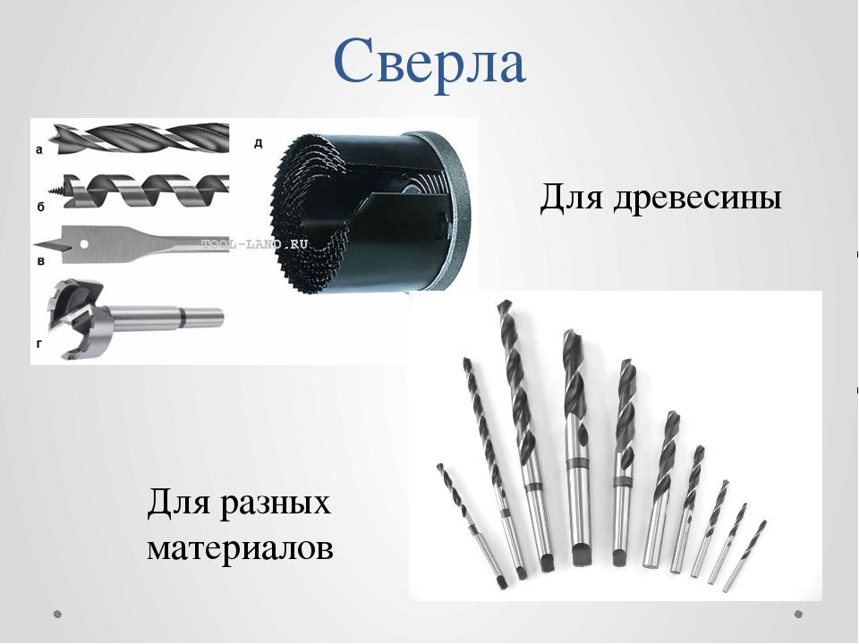 Сверла Для древесины Для разных материалов