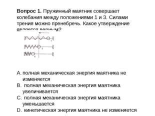 Вопрос 1. Пружинный маятник совершает колебания между положениями 1 и 3. Сила