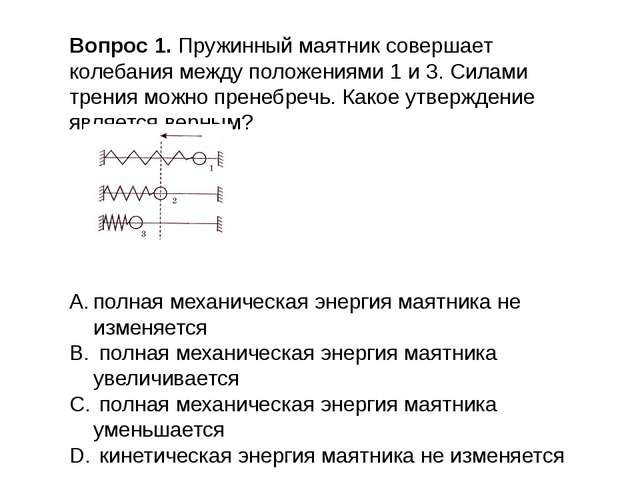 Вопрос 1. Пружинный маятник совершает колебания между положениями 1 и 3. Сила...