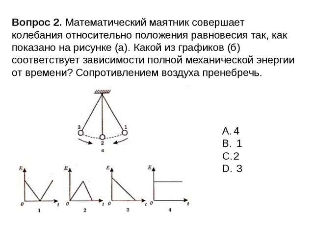Вопрос 2. Математический маятник совершает колебания относительно положения р...