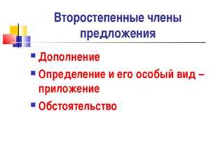 Второстепенные члены предложения Дополнение Определение и его особый вид – пр