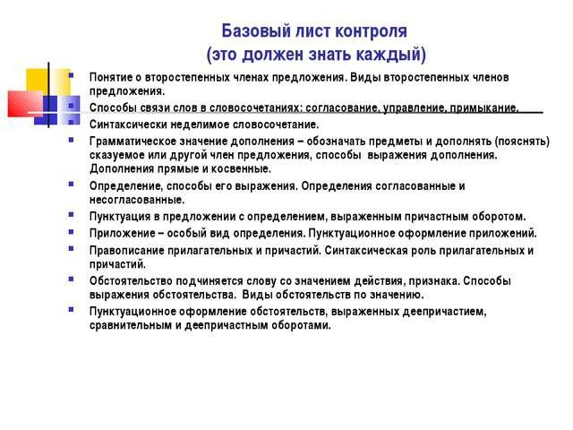 Базовый лист контроля (это должен знать каждый) Понятие о второстепенных член...