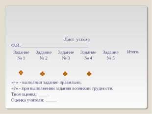 Лист успеха Ф.И._____________________________ Задание № 1Задание № 2Задани