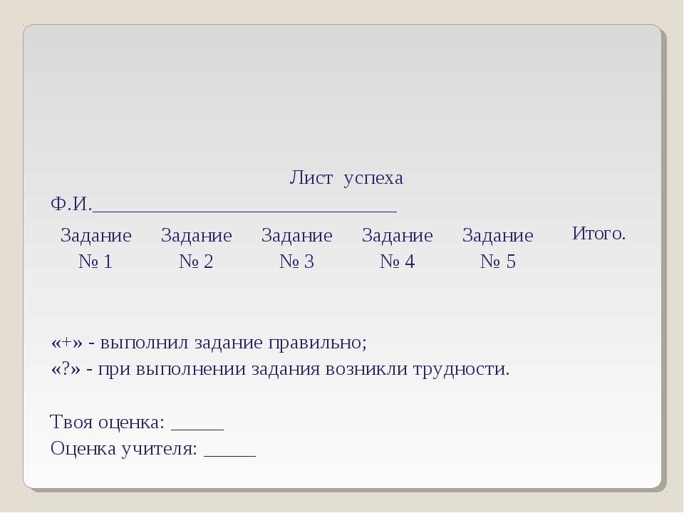 Лист успеха Ф.И._____________________________ Задание № 1Задание № 2Задани...