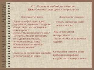 VIII. Рефлексия учебной деятельности. Цель: Соотнести цели урока и его резуль