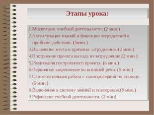Этапы урока: 1.Мотивация учебной деятельности. (2 мин.) 2.Актуализация знаний