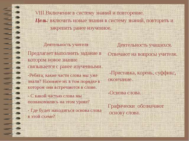 VIII.Включение в систему знаний и повторение. Цель: включить новые знания в с...
