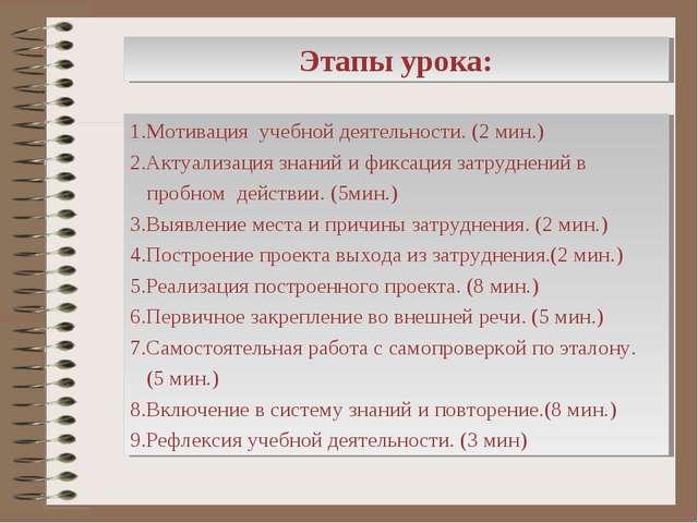 Этапы урока: 1.Мотивация учебной деятельности. (2 мин.) 2.Актуализация знаний...