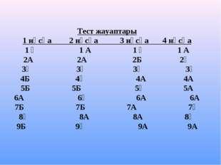 Тест жауаптары 1 нұсқа 2 нұсқа 3 нұсқа 4 нұсқа 1 Ә 1 А 1 Ә 1 А 2А 2А 2Б 2Ә 3