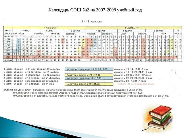 Календарь СОШ №2 на 2007-2008 учебный год