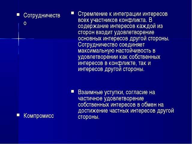Сотрудничество Компромисс Стремление к интеграции интересов всех участников к...