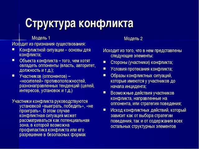 Структура конфликта Модель 1 Исходит из признания существования: Конфликтно...