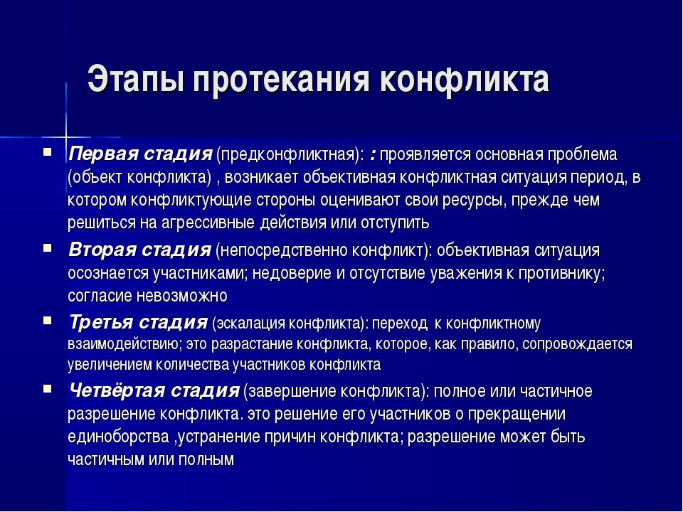 Этапы протекания конфликта Первая стадия (предконфликтная): : проявляется осн...