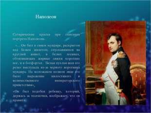 Наполеон Сатирические краски при описании портрета Наполеона. «... Он был в с